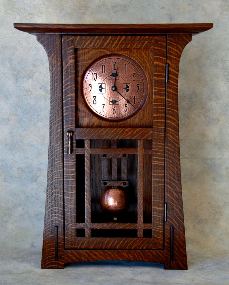 Arts and crafts clocks for Arts and crafts style wall clock